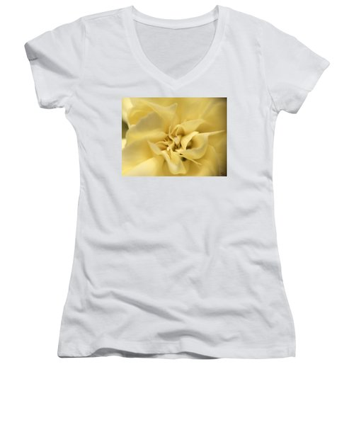 Macro Yellow Rose Women's V-Neck