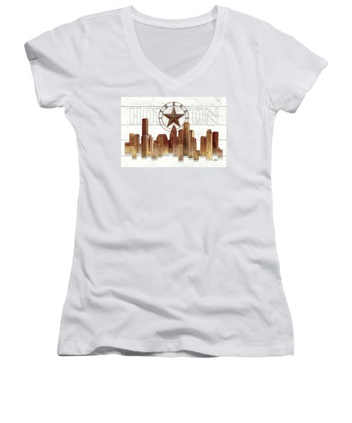Made-to-order Houston Texas Skyline Wall Art Women's V-Neck (Athletic Fit)