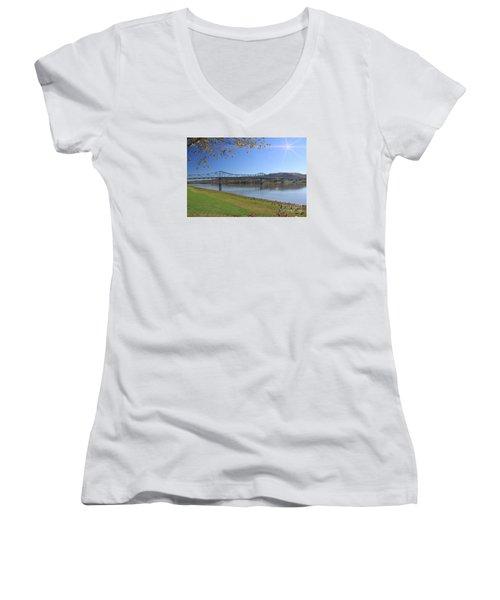 Madison, Indiana Bridge  Women's V-Neck T-Shirt