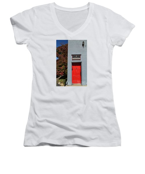 Madison Red Fire House Door Women's V-Neck T-Shirt