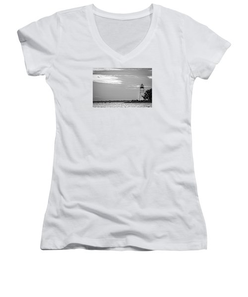 Women's V-Neck T-Shirt (Junior Cut) featuring the photograph Madisonville Lighthouse In Black-and-white 2 by Andy Crawford