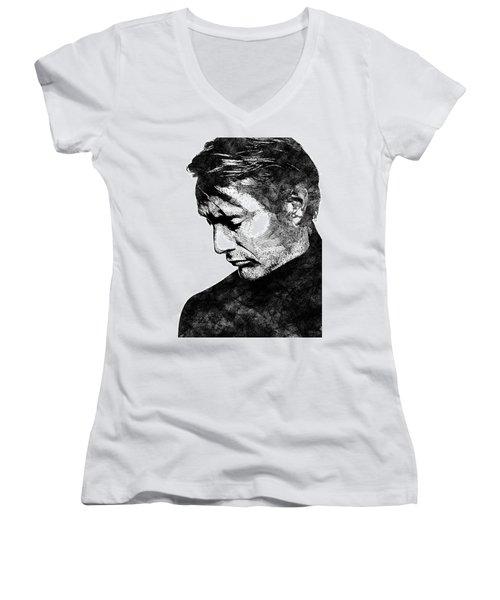 Mads Mikkelsen Women's V-Neck T-Shirt (Junior Cut) by Mihaela Pater
