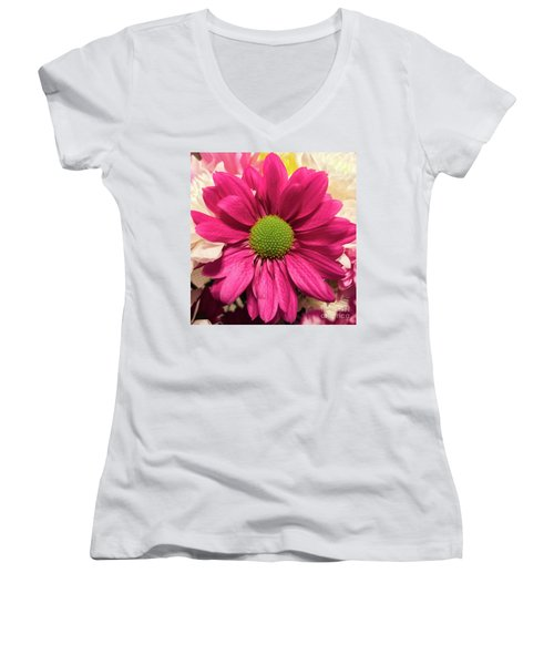 Magenta Chrysanthemum Women's V-Neck