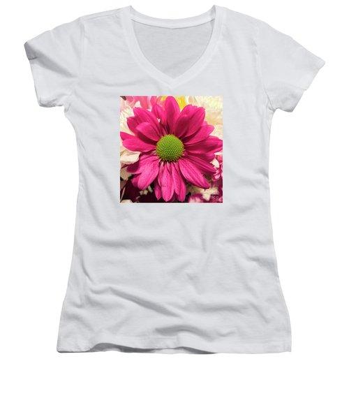 Magenta Chrysanthemum Women's V-Neck