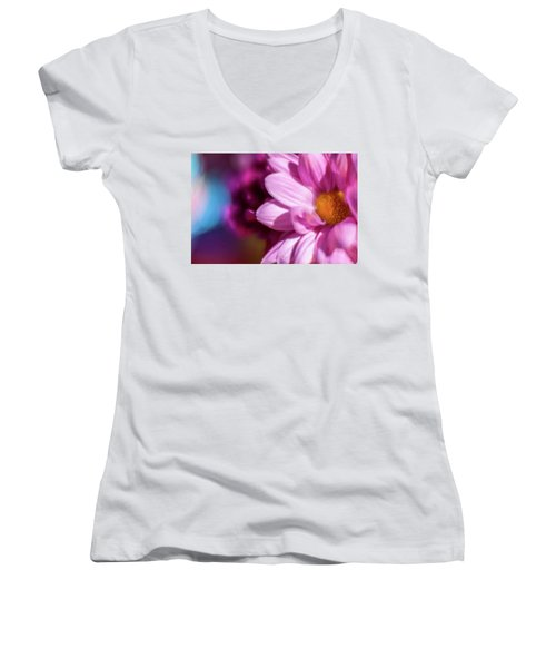 Magenta Floral On Blue Women's V-Neck (Athletic Fit)