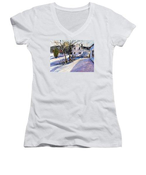 Magenta Shadows Women's V-Neck T-Shirt (Junior Cut) by Judith Levins