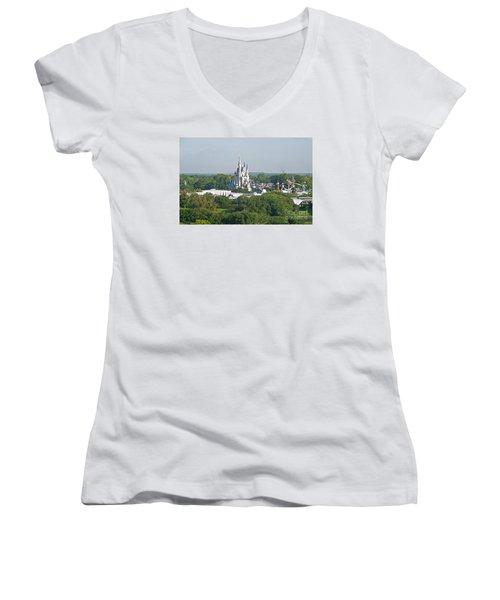 Women's V-Neck T-Shirt (Junior Cut) featuring the photograph Magic Kingdom by Carol  Bradley