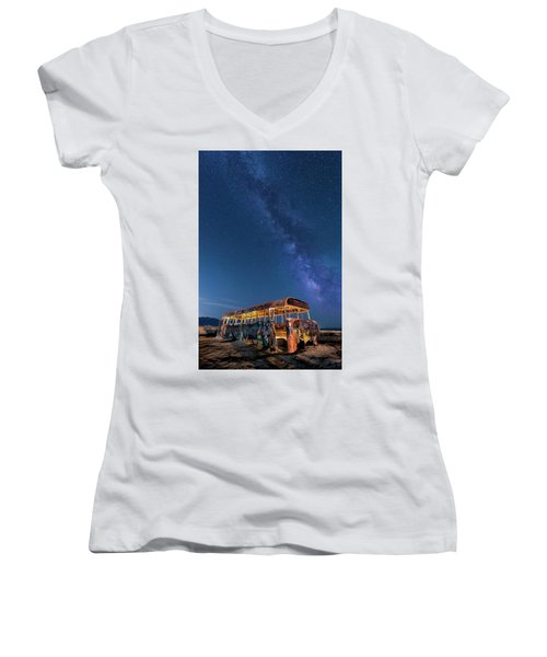 Magic Milky Way Bus Women's V-Neck