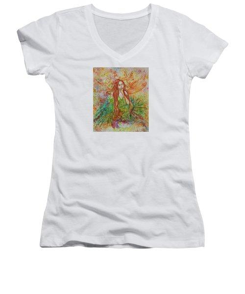 Magical Song Of Autumn Women's V-Neck T-Shirt (Junior Cut) by Rita Fetisov