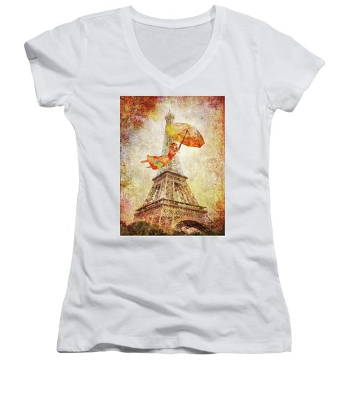 Magically Paris Women's V-Neck (Athletic Fit)