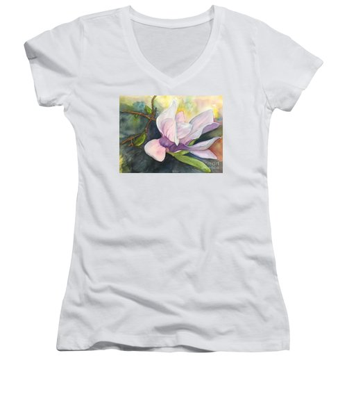 Magnificent Magnolia Women's V-Neck T-Shirt (Junior Cut) by Lucia Grilletto
