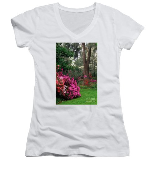 Women's V-Neck T-Shirt (Junior Cut) featuring the photograph Magnolia Plantation - Fs000148a by Daniel Dempster