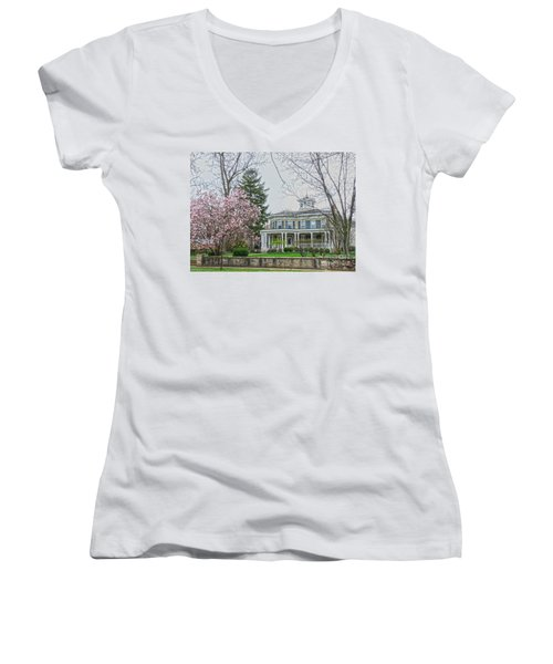 Magnolia Time Women's V-Neck T-Shirt (Junior Cut) by David Bearden