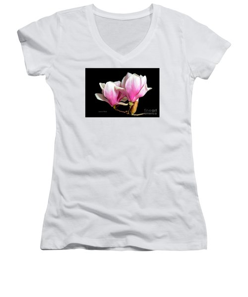 Magnolias In Spring Bloom Women's V-Neck (Athletic Fit)