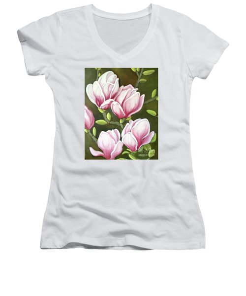 Magnolias Women's V-Neck T-Shirt