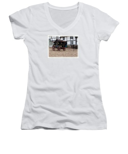 Women's V-Neck T-Shirt (Junior Cut) featuring the digital art Mail Coach At Lacock by Paul Gulliver