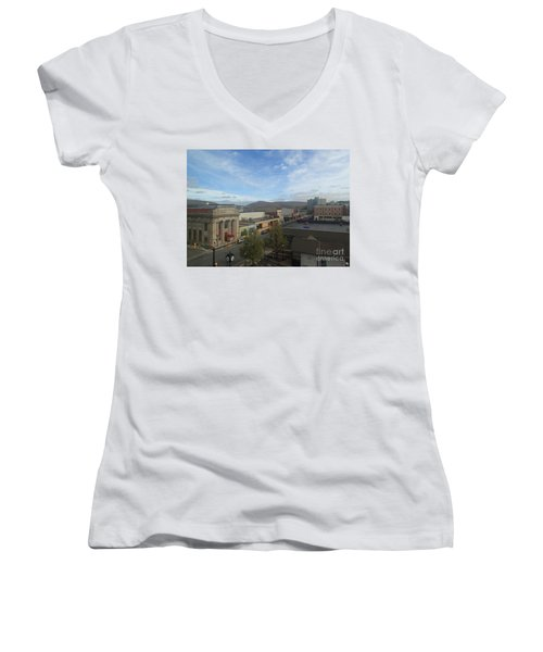 Main St To The Mountains   Women's V-Neck T-Shirt (Junior Cut) by Christina Verdgeline