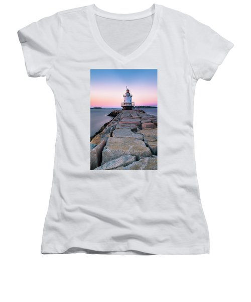 Women's V-Neck T-Shirt (Junior Cut) featuring the photograph Maine Coastal Sunset Over The Spring Breakwater Lighthouse by Ranjay Mitra