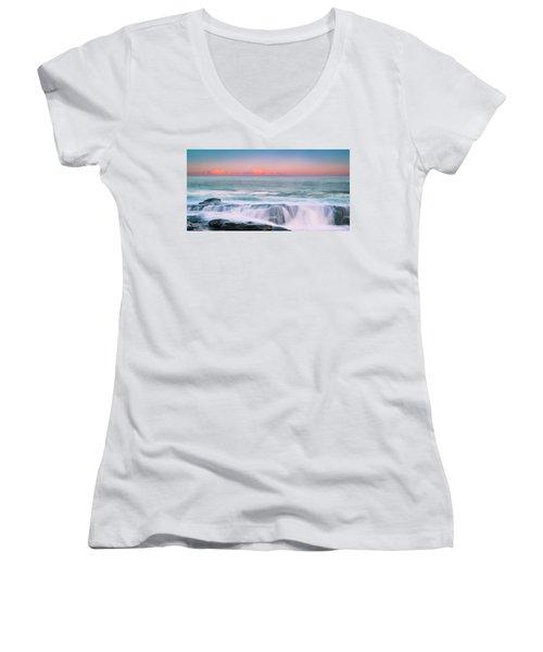 Maine Rocky Coastal Sunset Panorama Women's V-Neck T-Shirt (Junior Cut) by Ranjay Mitra