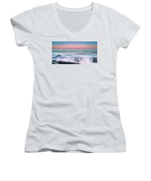 Maine Rocky Coastal Sunset Panorama Women's V-Neck (Athletic Fit)
