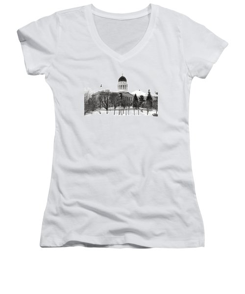 Maine State Capitol In Winter Women's V-Neck (Athletic Fit)