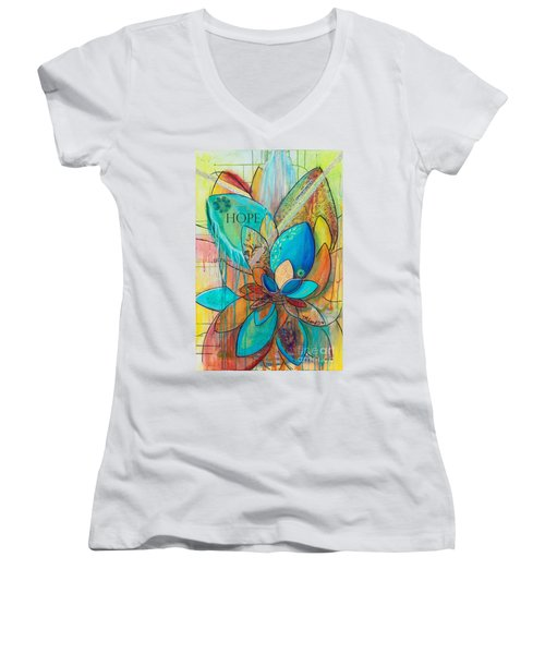 Spirit Lotus With Hope Women's V-Neck