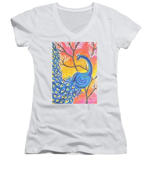 Majestic Peacock Colorful Textured Art Women's V-Neck T-Shirt