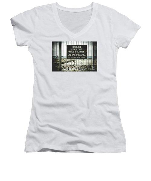 Women's V-Neck T-Shirt (Junior Cut) featuring the photograph Mala Wharf Lahaina Maui Hawaii by Sharon Mau