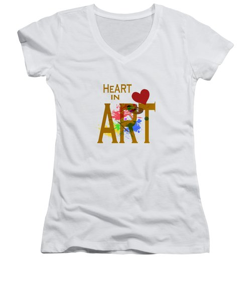 Women's V-Neck featuring the painting Malachite   by Valerie Anne Kelly
