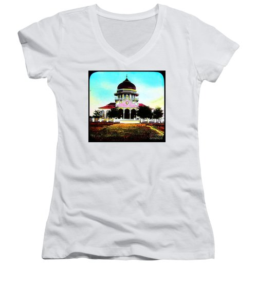 Malay Mosque Singapore Circa 1910 Women's V-Neck T-Shirt (Junior Cut) by Peter Gumaer Ogden