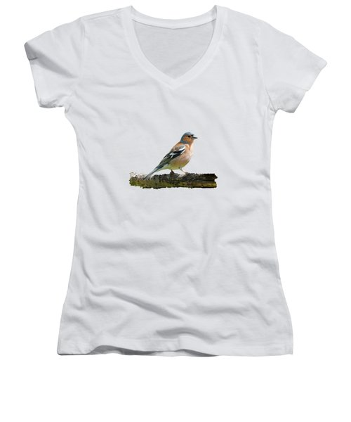 Women's V-Neck T-Shirt (Junior Cut) featuring the photograph Male Chaffinch, Transparent Background by Paul Gulliver