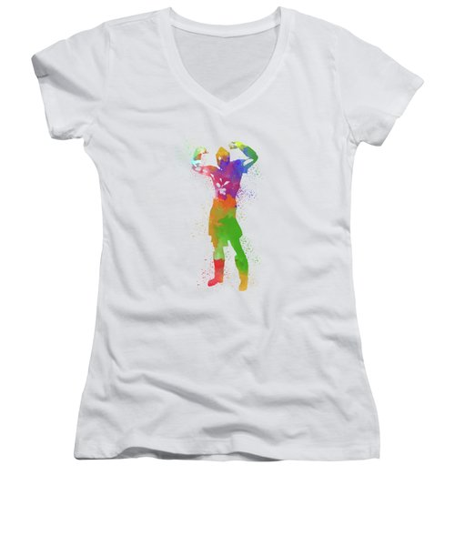 Male Watercolor Pose 1 Women's V-Neck T-Shirt