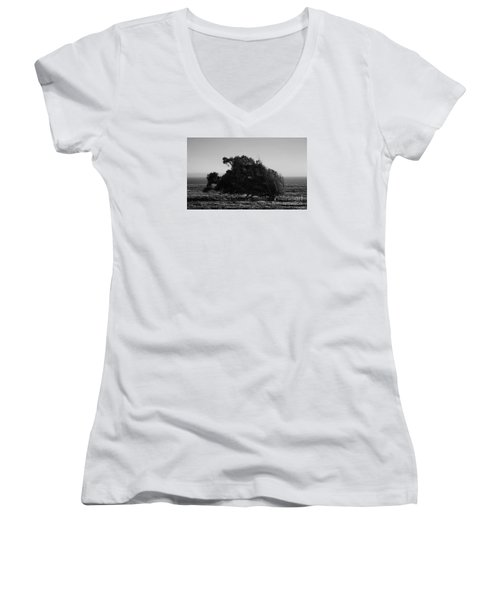 Women's V-Neck T-Shirt (Junior Cut) featuring the photograph Malformed Treeline by Clayton Bruster