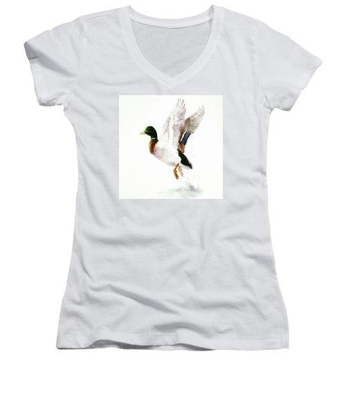Mallard Flying Away Watercolor Women's V-Neck