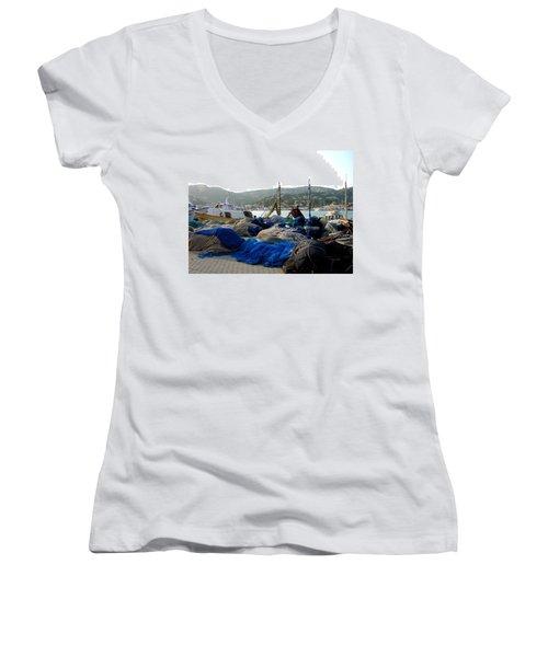 Mallorca 2 Women's V-Neck T-Shirt (Junior Cut) by Ana Maria Edulescu