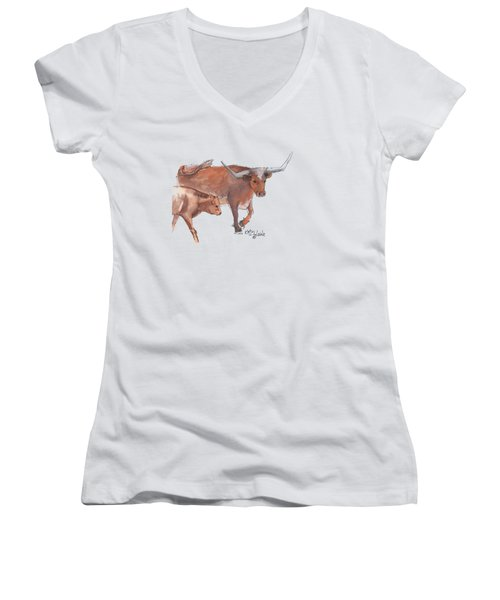 Mama And Baby Longhorn On The Run Women's V-Neck T-Shirt