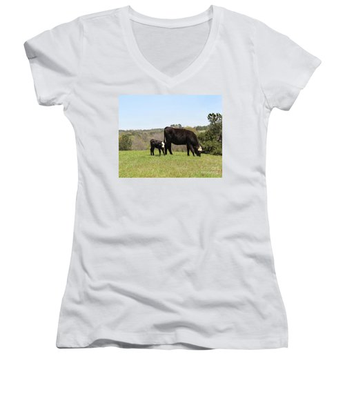 Mama Cow And Calf In Texas Pasture Women's V-Neck (Athletic Fit)