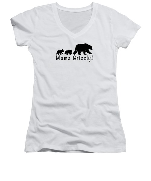 Mama Grizzly And Cubs Women's V-Neck T-Shirt (Junior Cut) by A C