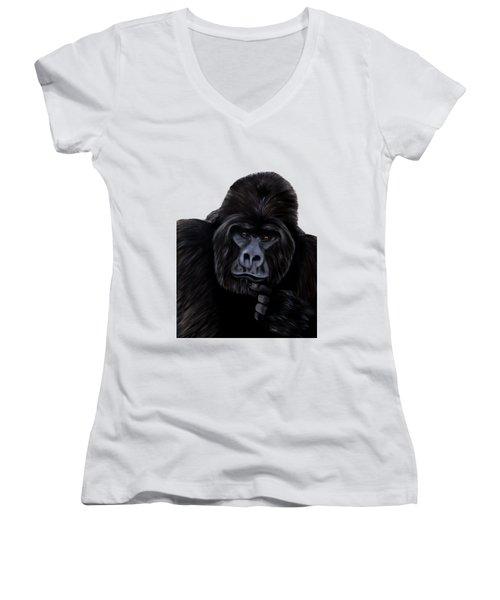 Mammals Gorilla Women's V-Neck (Athletic Fit)