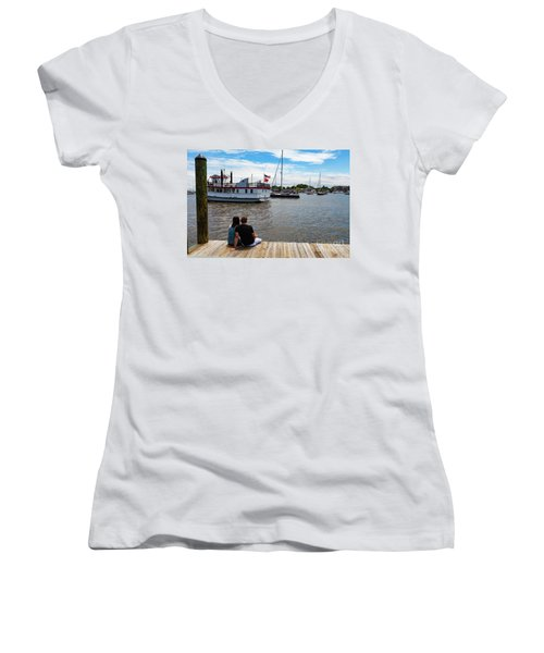 Man And Woman Sitting On The Dock Women's V-Neck