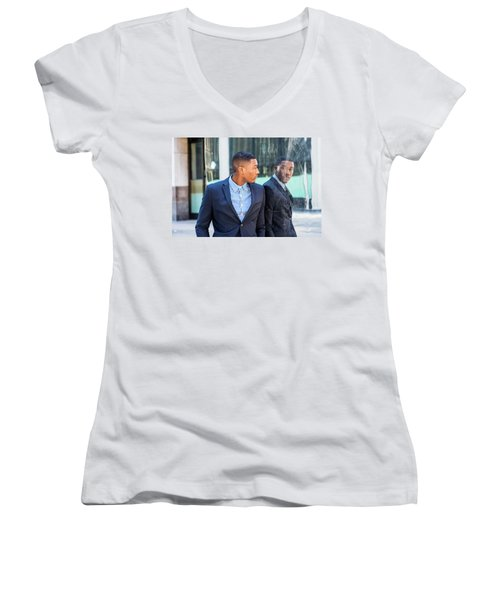 Man Looking At Mirror Women's V-Neck (Athletic Fit)
