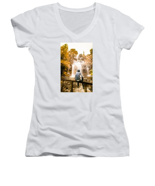 Women's V-Neck T-Shirt featuring the photograph Man Looking At Waterfall by Jorgo Photography - Wall Art Gallery