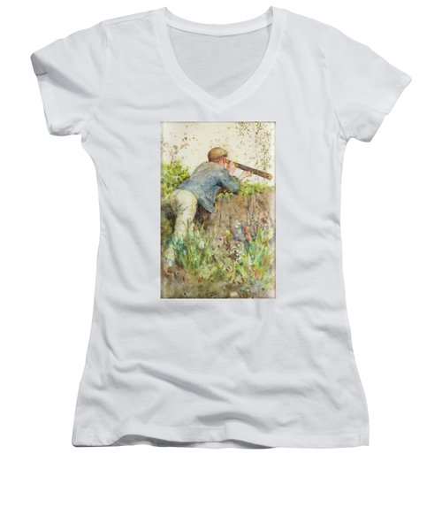 Women's V-Neck T-Shirt (Junior Cut) featuring the painting Man Looking Through A Telescope by Henry Scott Tuke