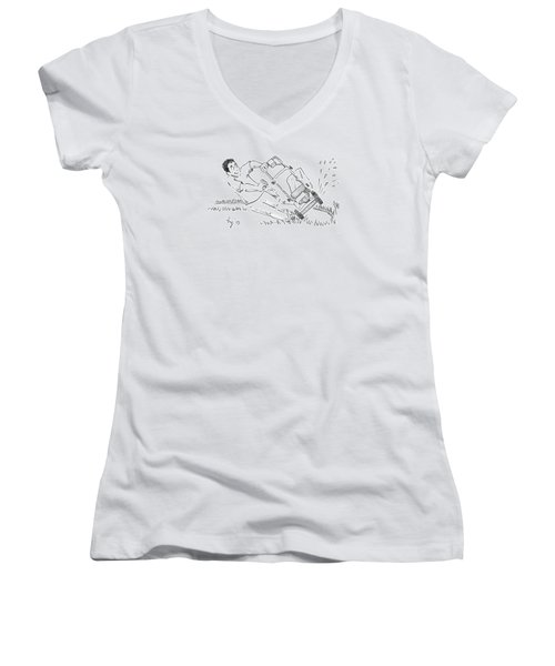 Man Mowing The Lawn Cartoon - Speed Mower Women's V-Neck