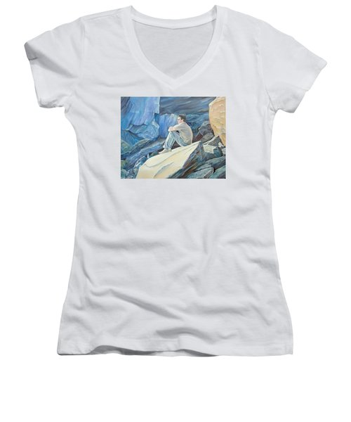 Man On The Rocks Women's V-Neck