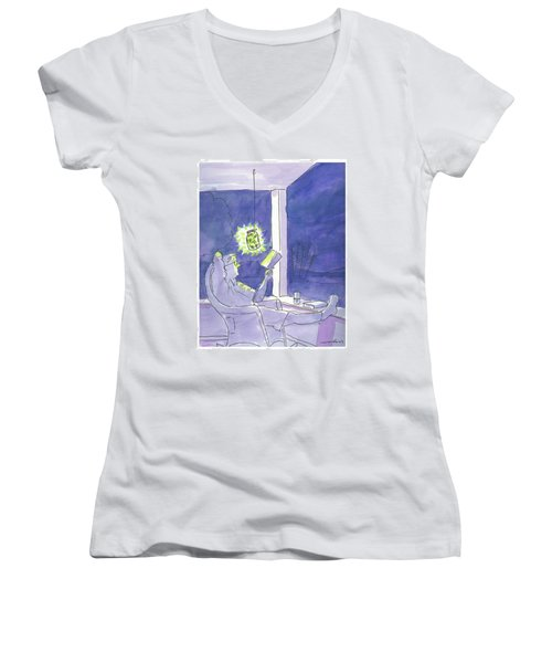 Man Reads By The Light Of Fireflies. Women's V-Neck