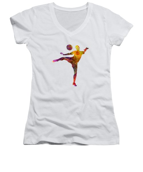 Man Soccer Football Player 07 Women's V-Neck (Athletic Fit)