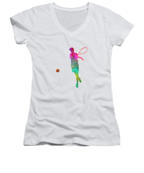 Man Tennis Player 01 In Watercolor Women's V-Neck T-Shirt (Junior Cut) by Pablo Romero