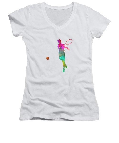 Man Tennis Player 01 In Watercolor Women's V-Neck T-Shirt