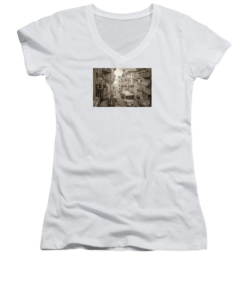 Manarola In Sepia Women's V-Neck T-Shirt